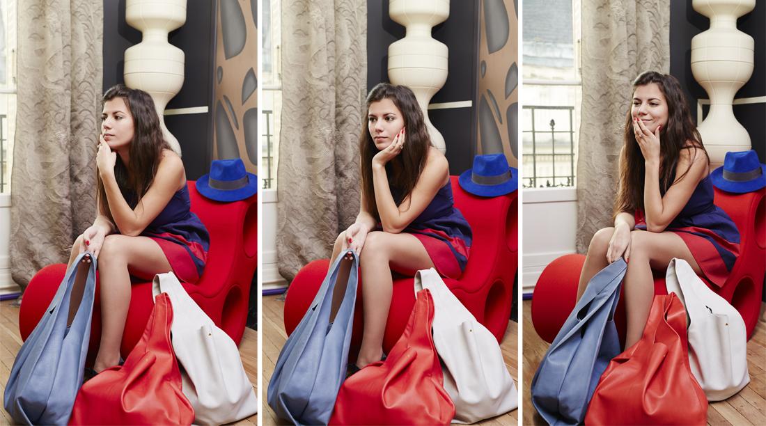 Sac K /bleu /rouge clair /gris bleu /slide